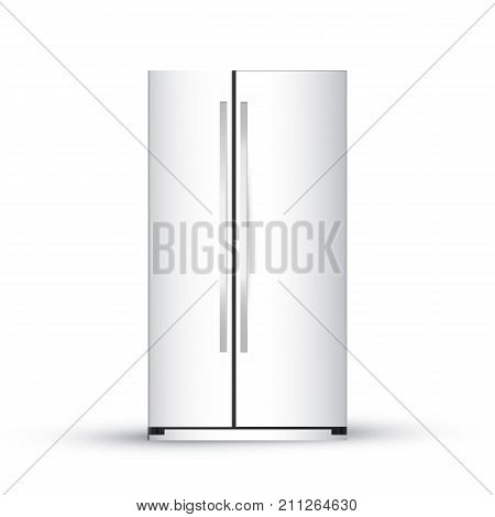 Vector Illustration Of  Modern Realistic Frige On White Backgrou