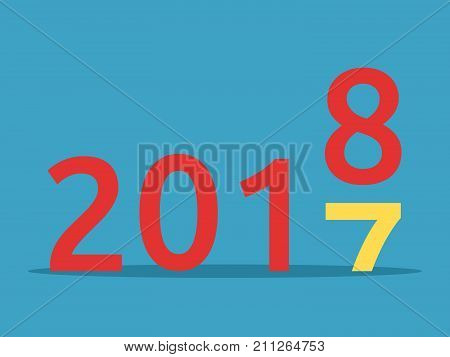 2017 changes for 2018 on blue background. New year, happy, beginning and christmas concept. Flat design. Vector illustration. EPS 8, no transparency