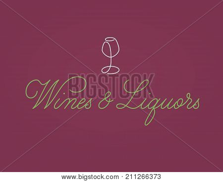 Wines and Liquors handdrawn lettering logo. Vector calligraphic logotype. Wineglass symbol and inscription