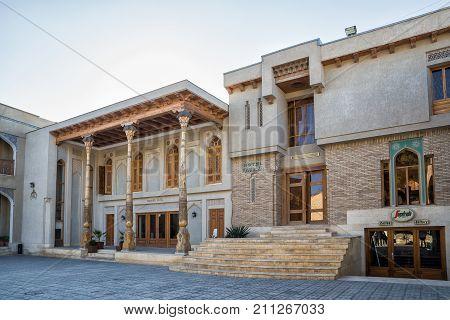 BUKHARA UZBEKISTAN - OCTOBER 19 2016: Two hotels in the city center next to Lyabi Khauz