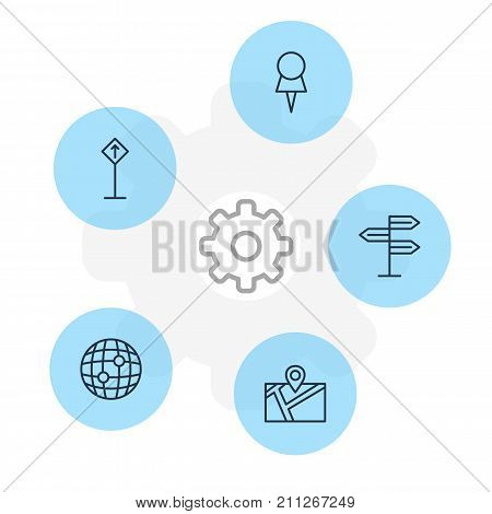 Editable Pack Of World, Marker, Guidepost And Other Elements.  Vector Illustration Of 5 Location Icons.