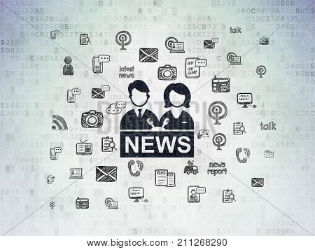 News concept: Painted black Anchorman icon on Digital Data Paper background with  Hand Drawn News Icons