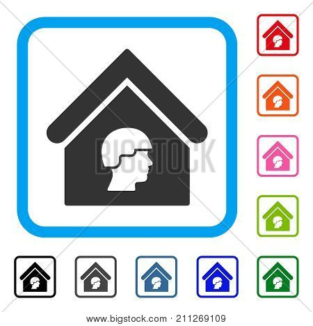 Barrack Building icon. Flat grey pictogram symbol inside a blue rounded square. Black, gray, green, blue, red, orange color versions of Barrack Building vector. Designed for web and application UI.
