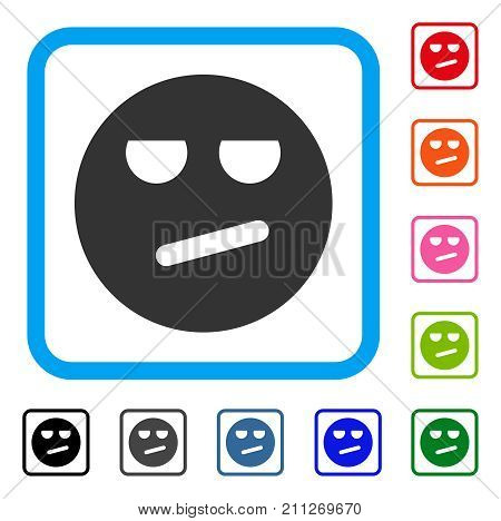 Bored Smiley icon. Flat gray pictogram symbol inside a blue rounded square. Black, gray, green, blue, red, orange color variants of Bored Smiley vector. Designed for web and software UI.