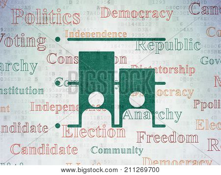 Politics concept: Painted green Election icon on Digital Data Paper background with  Tag Cloud