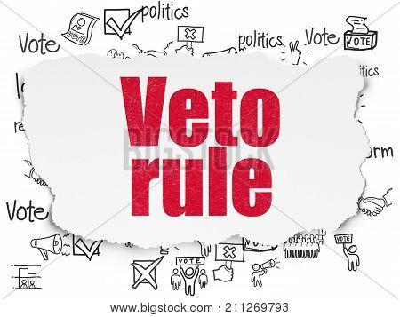 Political concept: Painted red text Veto Rule on Torn Paper background with  Hand Drawn Politics Icons