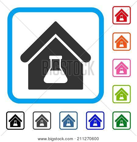 Chemical Labs Building icon. Flat gray pictogram symbol inside a blue rounded rectangular frame. Black, gray, green, blue, red, orange color variants of Chemical Labs Building vector.