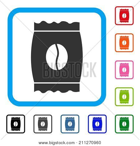 Coffee Bean Pack icon. Flat grey pictogram symbol in a blue rounded rectangular frame. Black, gray, green, blue, red, orange color versions of Coffee Bean Pack vector. Designed for web and app UI.