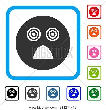 Crazy Smiley icon. Flat grey pictogram symbol inside a blue rounded frame. Black, gray, green, blue, red, orange color additional versions of Crazy Smiley vector. Designed for web and app UI.