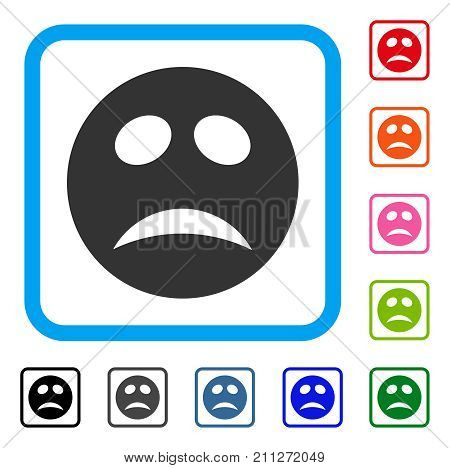 Depression Smiley icon. Flat gray iconic symbol inside a blue rounded square. Black, gray, green, blue, red, orange color versions of Depression Smiley vector.