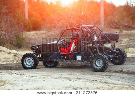 Buggy Car In The Sunlight. Riding  Buggy