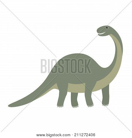 Apatosaurus. Cartoon illustration of apatosaurus dinosaur vector icon for web isolated on white background. Happy dinosaur, illustration for children
