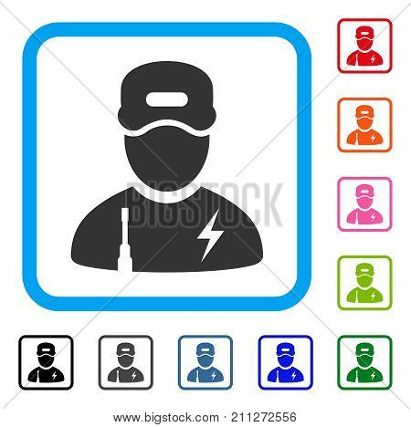 Electrician Boy icon. Flat gray pictogram symbol inside a blue rounded rectangle. Black, gray, green, blue, red, orange color variants of Electrician Boy vector.