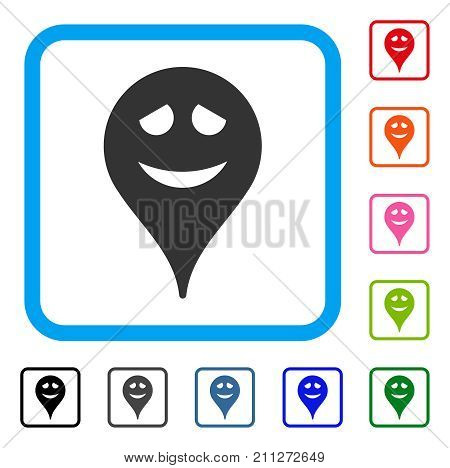 Embarrassment Smiley Map Marker icon. Flat grey pictogram symbol in a blue rounded squared frame. Black, gray, green, blue, red, orange color variants of Embarrassment Smiley Map Marker vector.