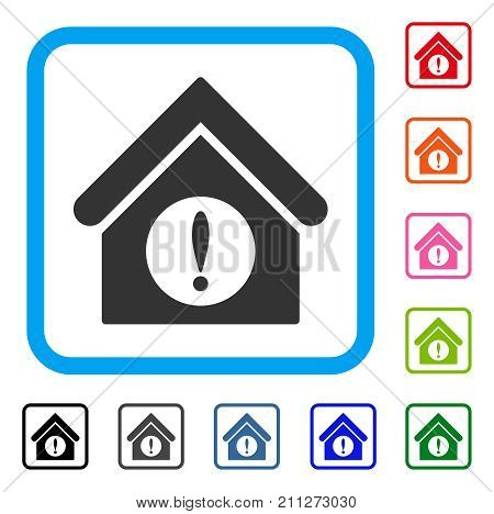 Exclamation Building icon. Flat gray iconic symbol inside a blue rounded rectangular frame. Black, gray, green, blue, red, orange color additional versions of Exclamation Building vector.