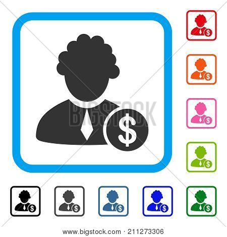 Financial Judge icon. Flat gray pictogram symbol inside a blue rounded frame. Black, gray, green, blue, red, orange color additional versions of Financial Judge vector.