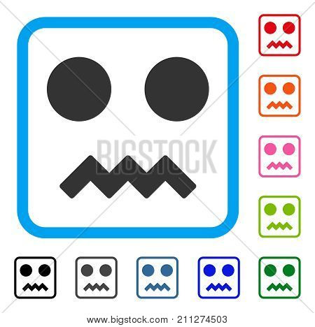 Fright Smile icon. Flat gray pictogram symbol in a blue rounded frame. Black, gray, green, blue, red, orange color variants of Fright Smile vector. Designed for web and application UI.