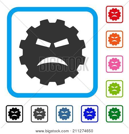 Furious Smiley Gear icon. Flat grey pictogram symbol in a blue rounded square. Black, gray, green, blue, red, orange color additional versions of Furious Smiley Gear vector.