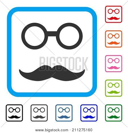 Grandfather Smile icon. Flat gray iconic symbol inside a blue rounded square. Black, gray, green, blue, red, orange color additional versions of Grandfather Smile vector.