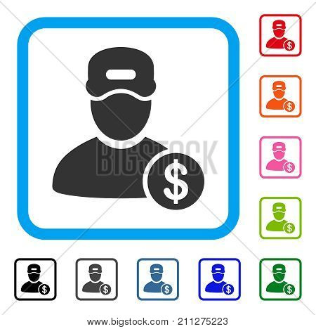 Guy Salary icon. Flat grey pictogram symbol inside a blue rounded frame. Black, gray, green, blue, red, orange color variants of Guy Salary vector. Designed for web and application user interface.