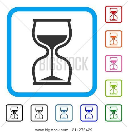 Hourglass icon. Flat gray iconic symbol inside a blue rounded square. Black, gray, green, blue, red, orange color additional versions of Hourglass vector. Designed for web and app UI.