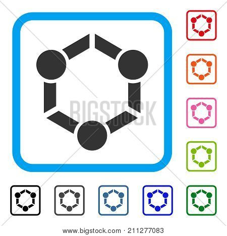 Human Union icon. Flat grey iconic symbol inside a blue rounded square. Black, gray, green, blue, red, orange color versions of Human Union vector. Designed for web and application interfaces.