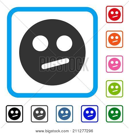 Indifferent Smiley icon. Flat gray pictogram symbol in a blue rounded squared frame. Black, gray, green, blue, red, orange color variants of Indifferent Smiley vector.