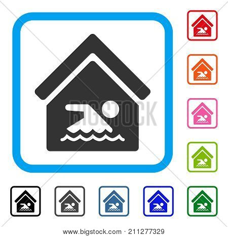 Indoor Water Pool icon. Flat gray iconic symbol in a blue rounded squared frame. Black, gray, green, blue, red, orange color additional versions of Indoor Water Pool vector.