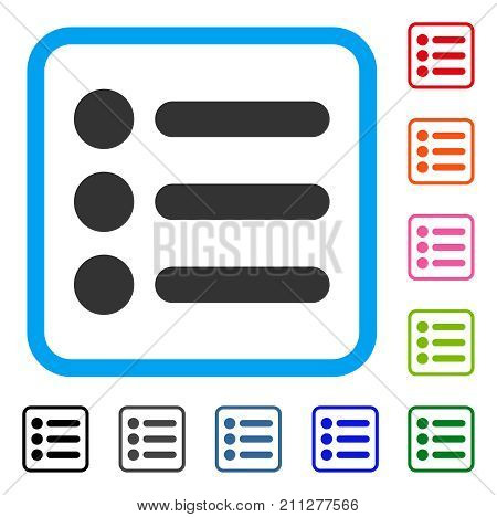 Items icon. Flat gray iconic symbol inside a blue rounded rectangle. Black, gray, green, blue, red, orange color versions of Items vector. Designed for web and software interfaces.