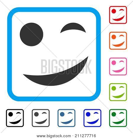Joke Smile icon. Flat gray iconic symbol in a blue rounded squared frame. Black, gray, green, blue, red, orange color variants of Joke Smile vector. Designed for web and app interfaces. poster