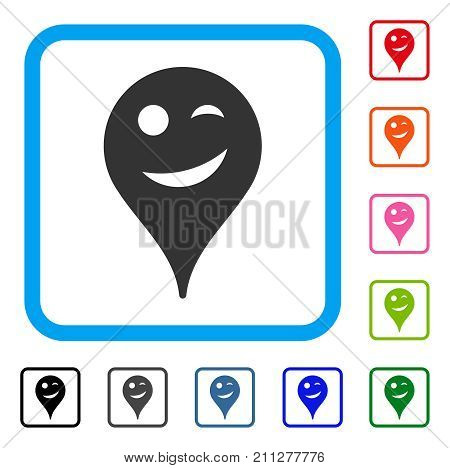 Joke Smiley Map Marker icon. Flat grey pictogram symbol in a blue rounded square. Black, gray, green, blue, red, orange color versions of Joke Smiley Map Marker vector. poster