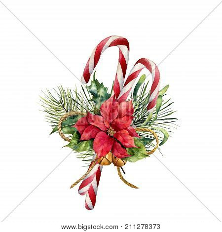 Watercolor Christmas Canes with poinsettia and decor. Hand painted traditional candy with christmas plant: holly, mistletoe, bells, ribbon and fir branch isolated on white background. Holiday print