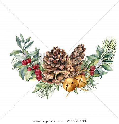 Watercolor winter floral composition. Hand painted snowberry and fir branches, red berries with leaves, pine cone, bells isolated on white background. Christmas illustration for design, print