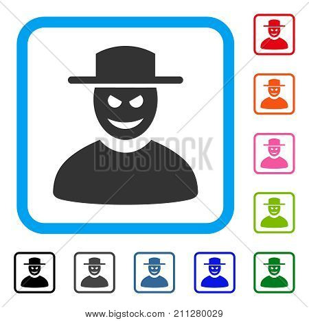 Malevolent Gentleman icon. Flat grey iconic symbol in a blue rounded square. Black, gray, green, blue, red, orange color variants of Malevolent Gentleman vector. Designed for web and app UI. poster