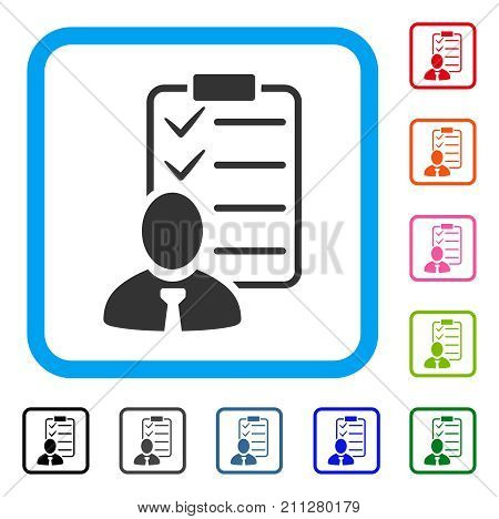 Manager Check List icon. Flat gray pictogram symbol inside a blue rounded squared frame. Black, gray, green, blue, red, orange color versions of Manager Check List vector. Designed for web and app UI.