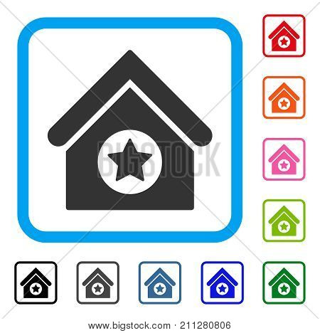 Military Building icon. Flat gray iconic symbol inside a blue rounded rectangle. Black, gray, green, blue, red, orange color versions of Military Building vector. Designed for web and app interfaces.
