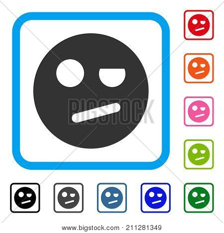 Negation Smiley icon. Flat gray pictogram symbol inside a blue rounded squared frame. Black, gray, green, blue, red, orange color additional versions of Negation Smiley vector.