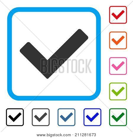 Ok icon. Flat gray pictogram symbol in a blue rounded frame. Black, gray, green, blue, red, orange color variants of Ok vector. Designed for web and software UI.
