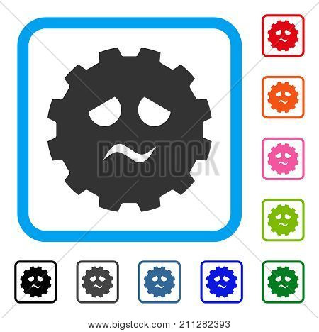 Pity Smiley Gear icon. Flat grey pictogram symbol in a blue rounded rectangle. Black, gray, green, blue, red, orange color additional versions of Pity Smiley Gear vector.
