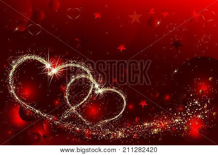 Hearts with flickering lights and stars of light. Abstract Valentines Day background