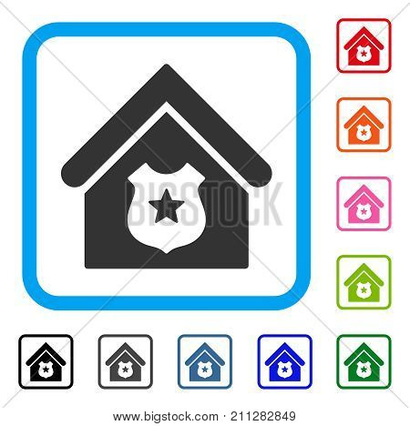 Police Office icon. Flat gray pictogram symbol in a blue rounded squared frame. Black, gray, green, blue, red, orange color versions of Police Office vector.