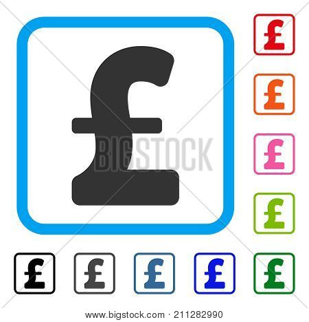Pound Sterling icon. Flat gray pictogram symbol in a blue rounded rectangle. Black, gray, green, blue, red, orange color additional versions of Pound Sterling vector.
