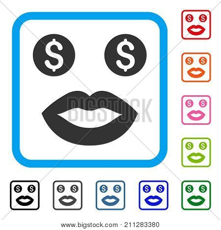 Prostitute Smile icon. Flat gray iconic symbol in a blue rounded frame. Black, gray, green, blue, red, orange color variants of Prostitute Smile vector. Designed for web and software user interface.