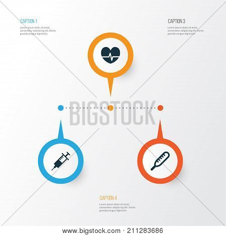 Antibiotic Icons Set. Collection Of Ache, Rhythm, Injection And Other Elements