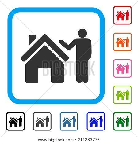 Realty Buyer icon. Flat grey iconic symbol in a blue rounded square. Black, gray, green, blue, red, orange color variants of Realty Buyer vector. Designed for web and application interfaces.