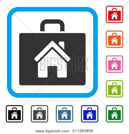 Realty Case icon. Flat gray pictogram symbol inside a blue rounded frame. Black, gray, green, blue, red, orange color versions of Realty Case vector. Designed for web and application user interface.