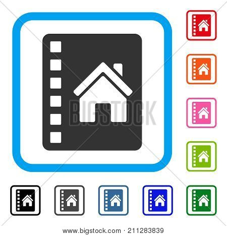 Realty Catalog icon. Flat grey pictogram symbol in a blue rounded squared frame. Black, gray, green, blue, red, orange color versions of Realty Catalog vector. Designed for web and application UI.