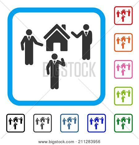 Realty Discuss Persons icon. Flat gray pictogram symbol inside a blue rounded squared frame. Black, gray, green, blue, red, orange color variants of Realty Discuss Persons vector.