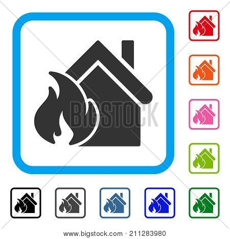 Realty Fire Disaster icon. Flat gray iconic symbol in a blue rounded square. Black, gray, green, blue, red, orange color variants of Realty Fire Disaster vector. Designed for web and app interfaces.
