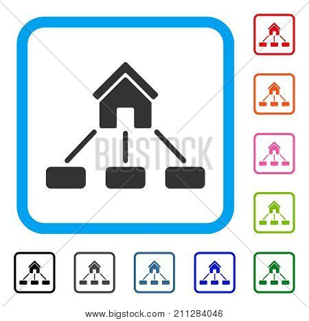 Realty Links icon. Flat gray pictogram symbol inside a blue rounded rectangular frame. Black, gray, green, blue, red, orange color additional versions of Realty Links vector.